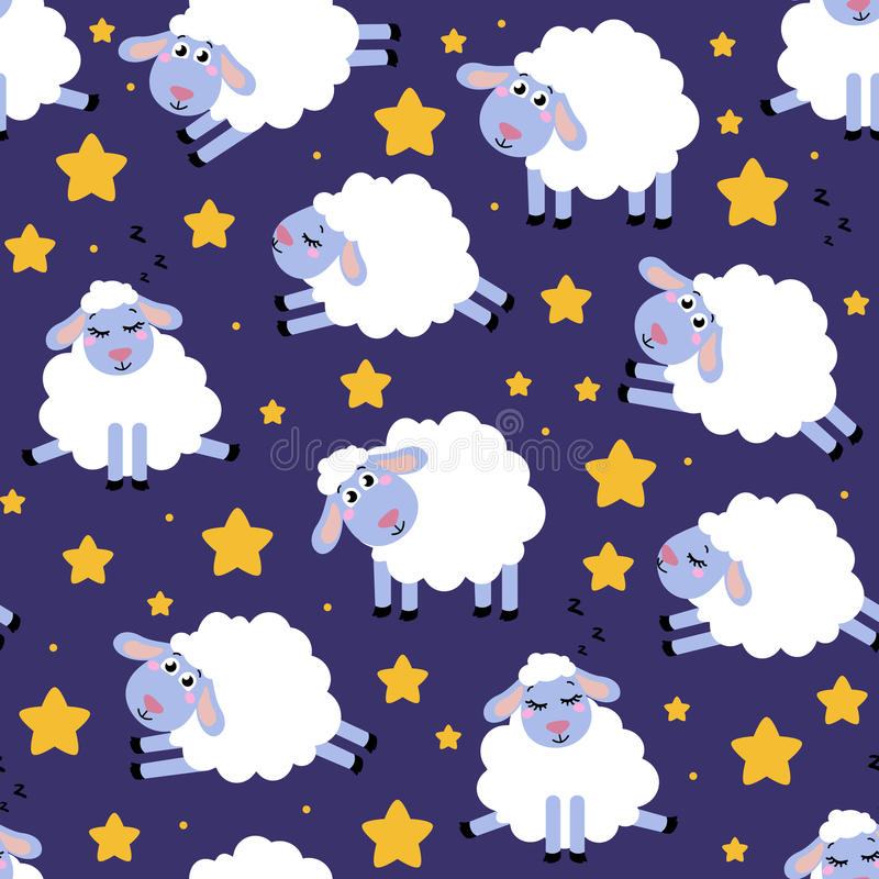 Download Seamless Pattern Of Counting Sheep To Fall Asleep Cartoon Happy Jumping For Baby