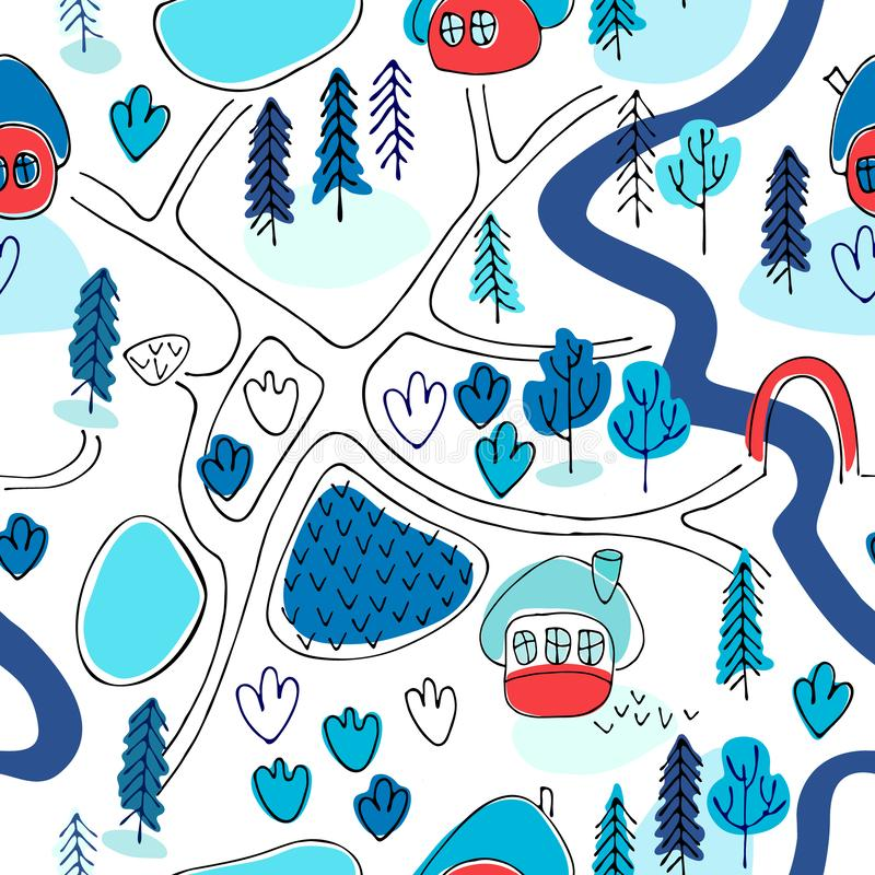 Seamless pattern. Countryside map in cartoon style. Winter landscape royalty free illustration
