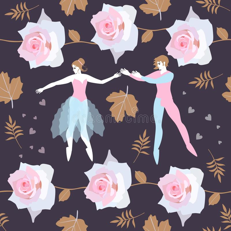 Seamless pattern with couple of ballet dancers, leaves and gardlands of pink roses. Print for fabric, paper, wallpaper. Vector vector illustration