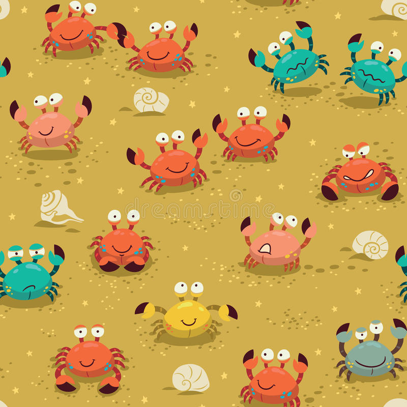 Seamless pattern with crabs vector illustration