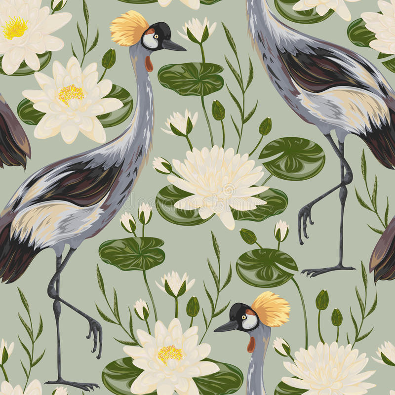 Seamless pattern with crane bird and water lily. Oriental motif. vector illustration