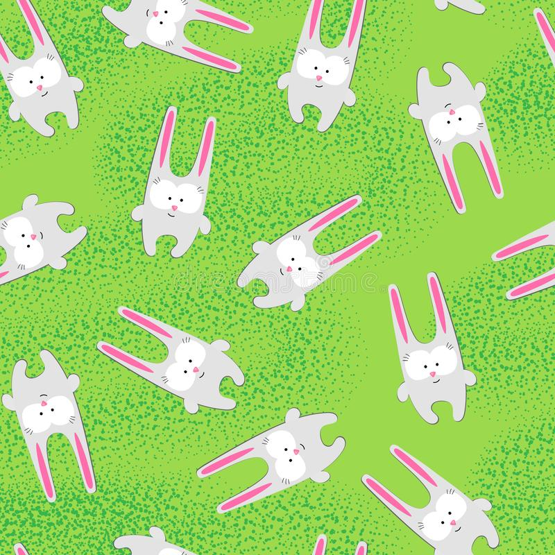 Seamless pattern Creative hare rabbit on a bright green background Funny cute childish pattern hare rabbit character for birthday royalty free illustration