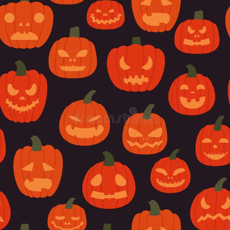 Seamless pattern of creepy pumpkins on a dark background. Halloween background. Vector illustration in cartoon royalty free illustration