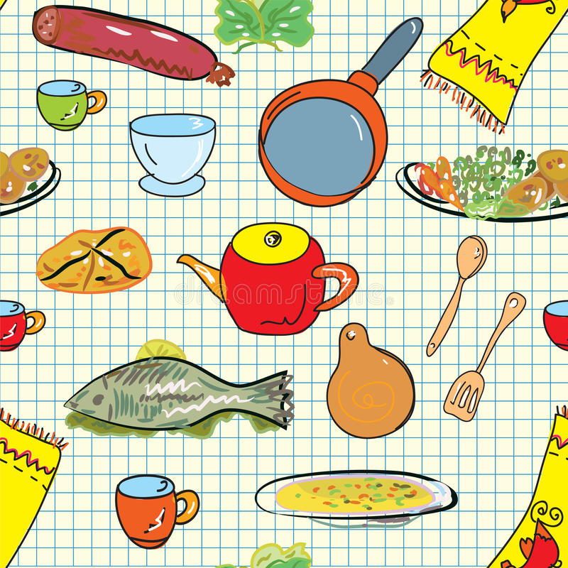 Seamless Pattern With Crockery Stock Images