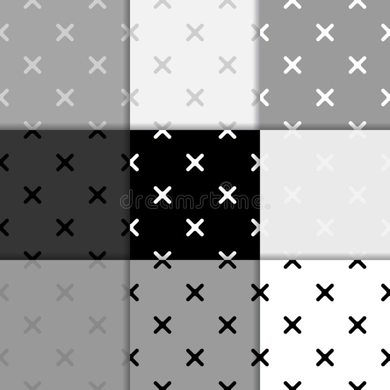 Seamless pattern with cross elements. Black and white background vector illustration