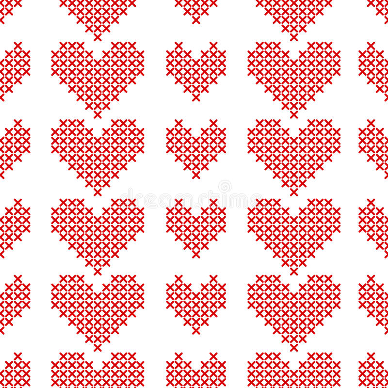 Seamless pattern with cross-stitch hearts on white background. stock illustration