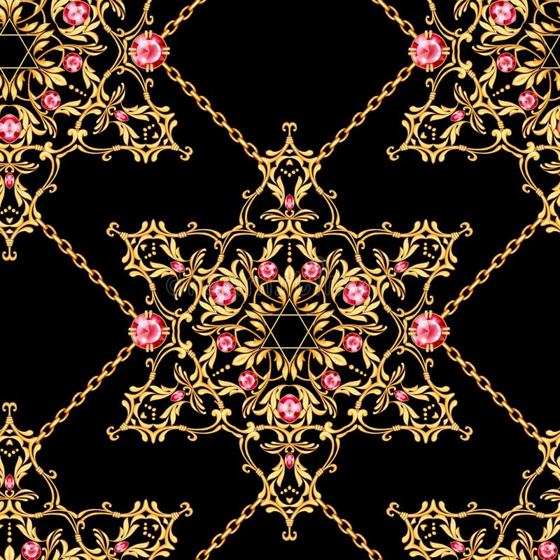 Seamless pattern with crossed golden chains and David star with ruby stock illustration