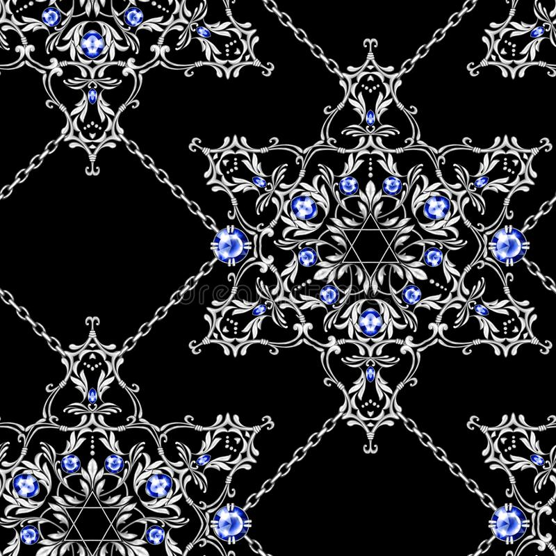 Seamless pattern with crossed silver chains and David star with gems vector illustration