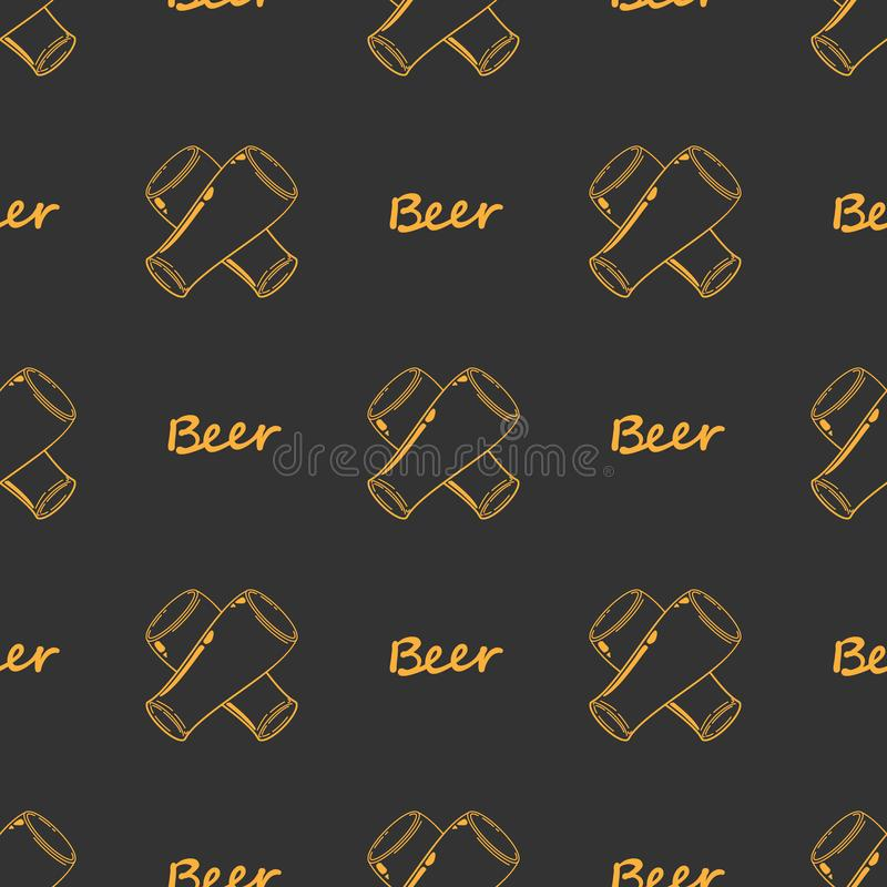 Seamless pattern crosshair craft Beer orange glass. Sketch ale goblets. Bar, pub old fashioned silhouettes. Drawing old fashioned stock illustration