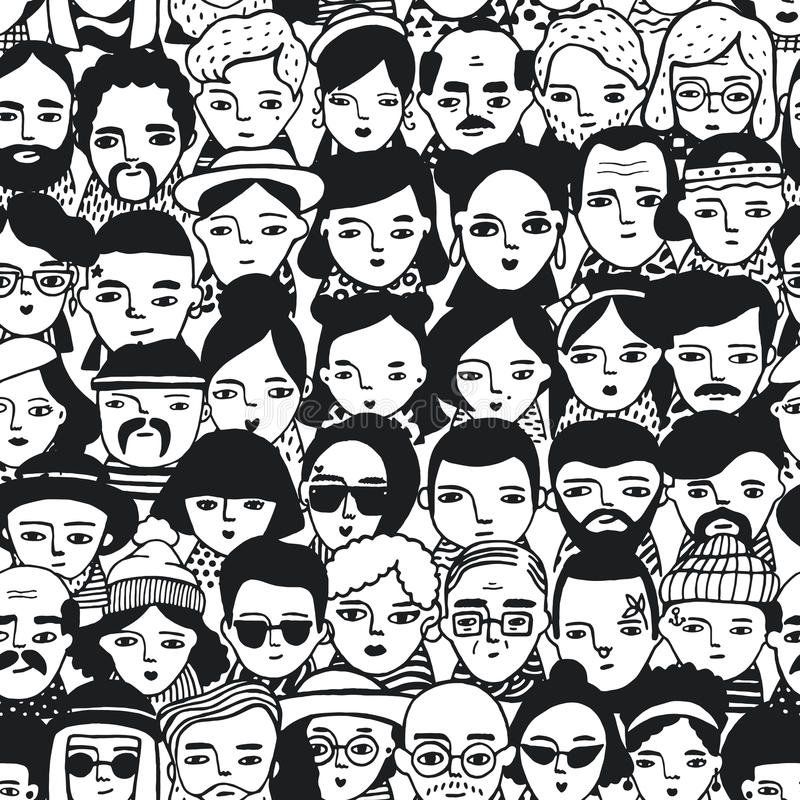 Seamless pattern of crowd different people, woman and man faces. Doodle portraits fashionable girls and guys. Trendy royalty free illustration