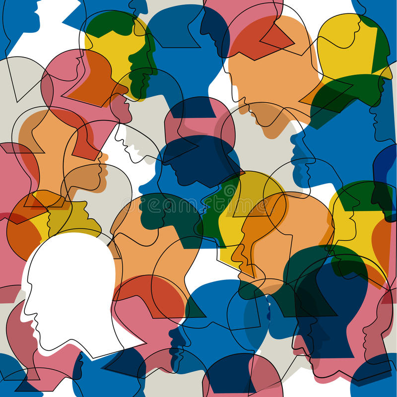 Seamless pattern of a crowd of many different people profile heads. royalty free illustration