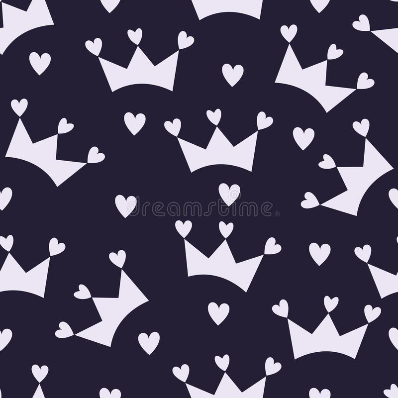 Seamless Pattern Crown and Little Hearts stock illustration