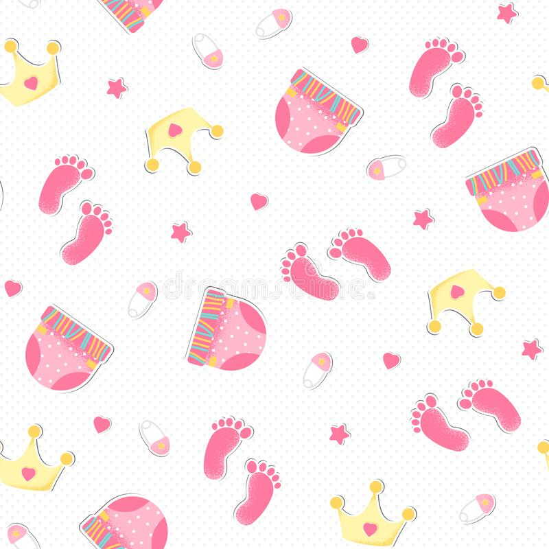 Seamless pattern with crown and print foot royalty free illustration