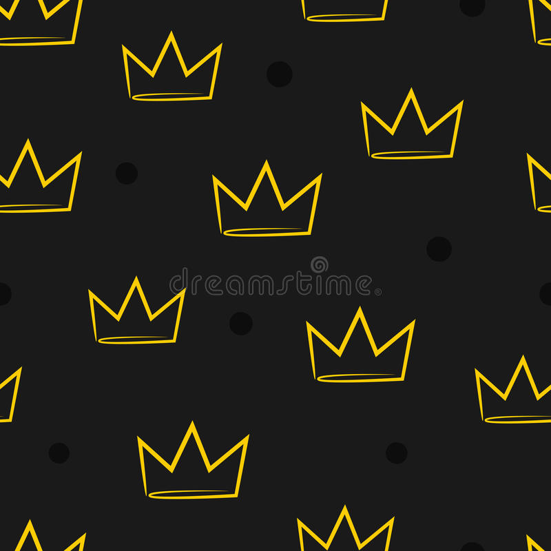 Seamless pattern with crowns. Drawn by hand. stock illustration