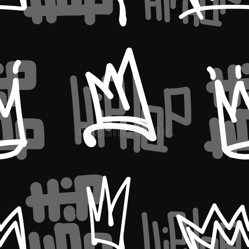 Seamless pattern with crowns and inscriptions Hip Hop. Drawn by hand. stock illustration