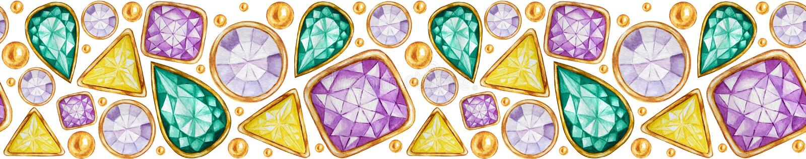 Seamless pattern Crystal in a gold frame and jewelry beads for banner. Hand drawn watercolor Gemstone diamond. Bright. Seamless pattern Crystal in a gold frame stock illustration