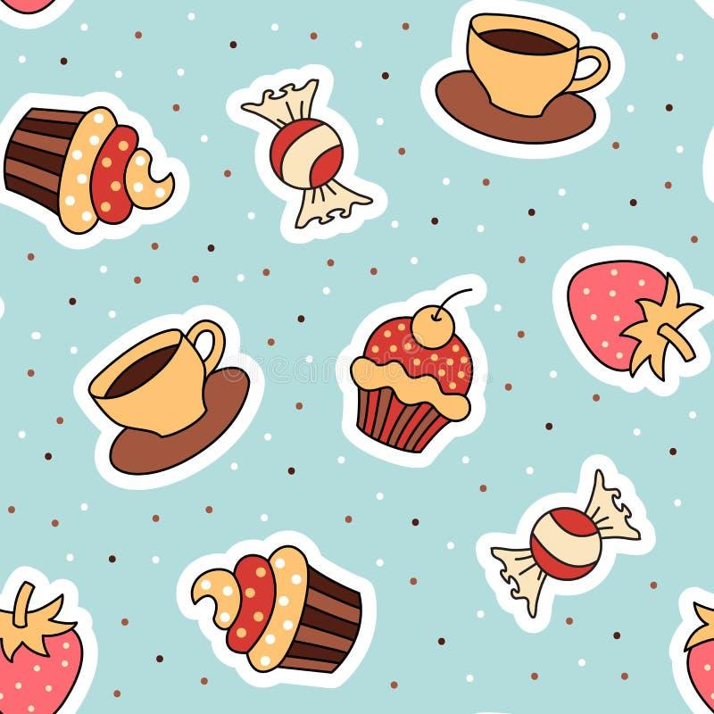 Seamless pattern cupcake, coffee, strawberry. stock illustration
