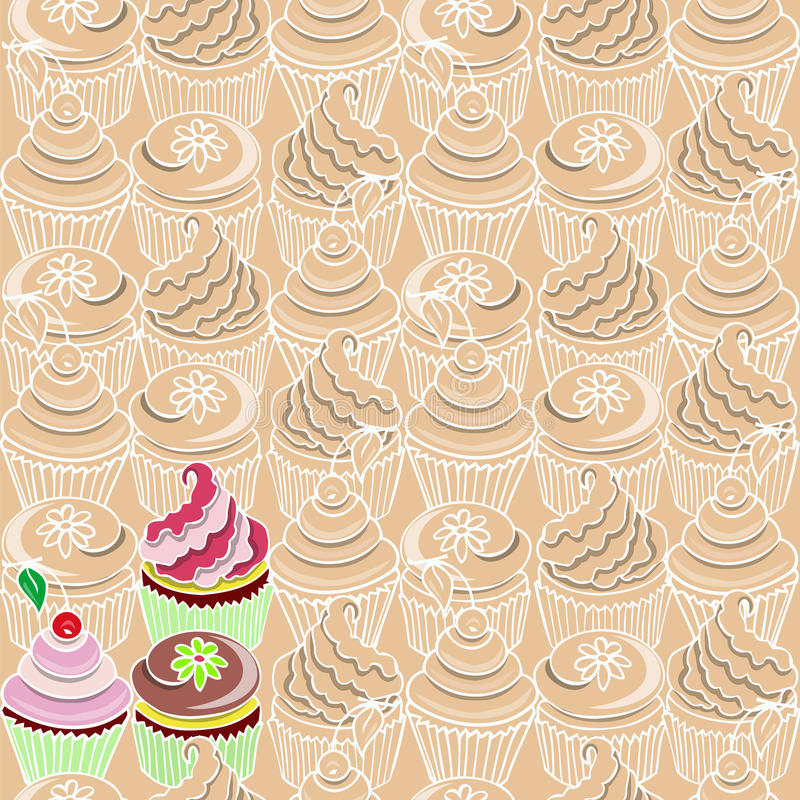Seamless pattern with cupcake royalty free stock photo