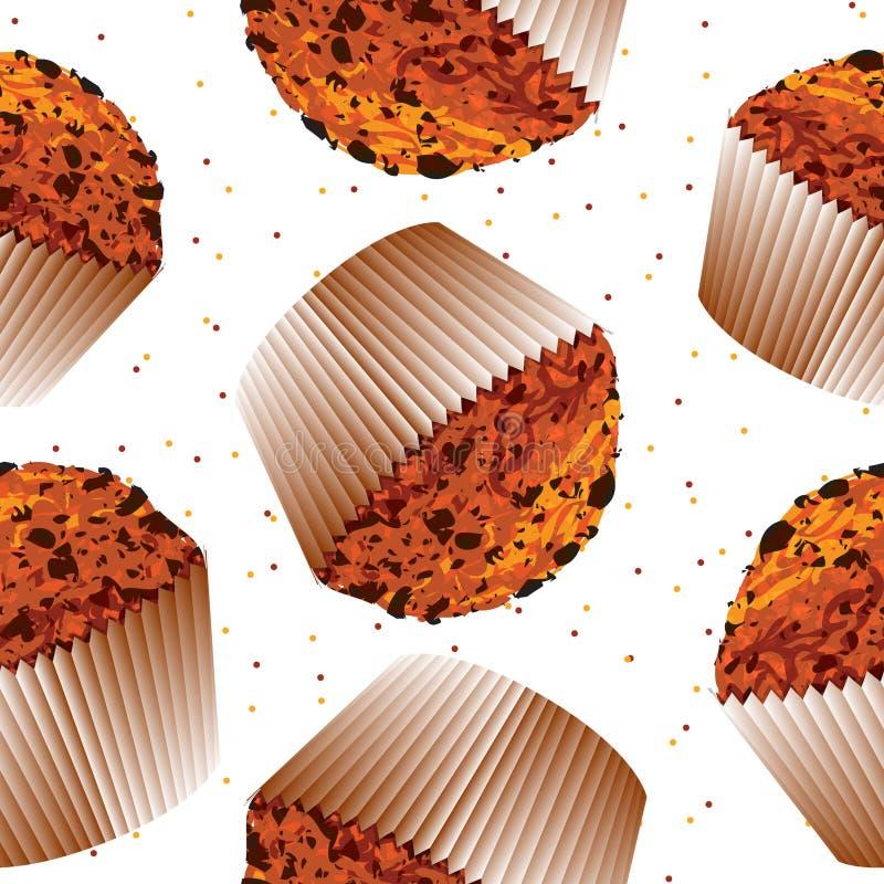 Seamless pattern cupcake muffin, cupcake backgroun vector illustration