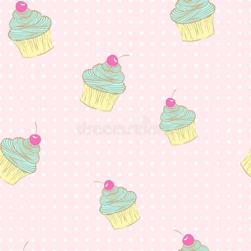 Seamless pattern of cupcakes. vector illustration
