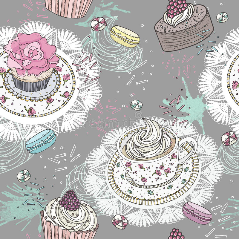 Seamless pattern with cupcakes, tea and macaroons royalty free illustration