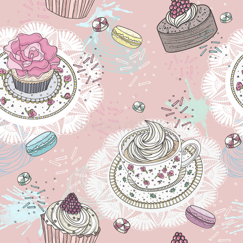 Seamless pattern with cupcakes, tea and macaroons. vector illustration