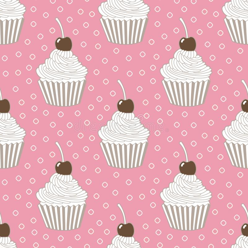 Seamless pattern of cupcakes. royalty free illustration