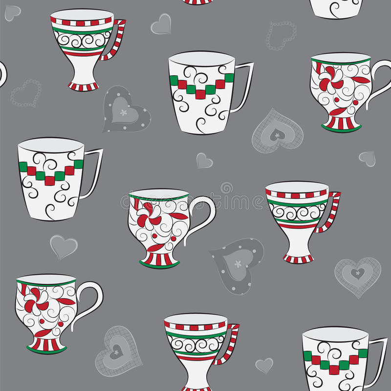 Download Seamless pattern with cups stock vector. Image of cafes - 25204746