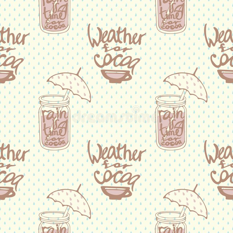 Seamless pattern with cups of cocoa for takeaway and rain vector illustration