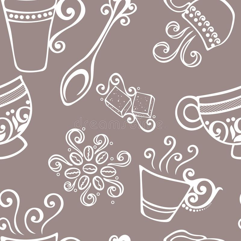 Download Seamless Pattern With Cups Of Coffee (Vector) Stock Vector - Illustration: 36273671