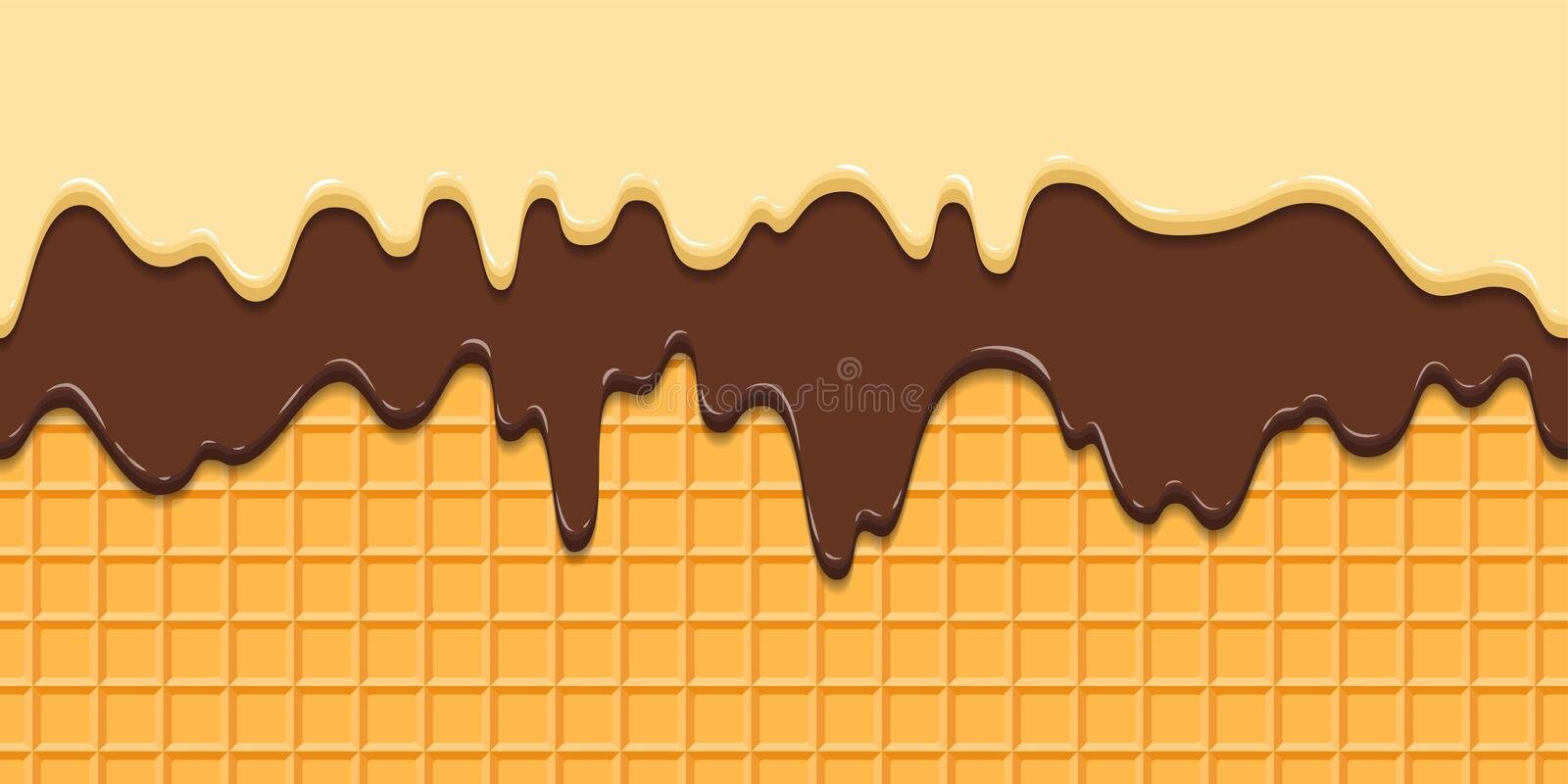 Seamless pattern. Current icing and chocolate on waffle texture background, waffle cone with ice cream. Cartoon stock illustration