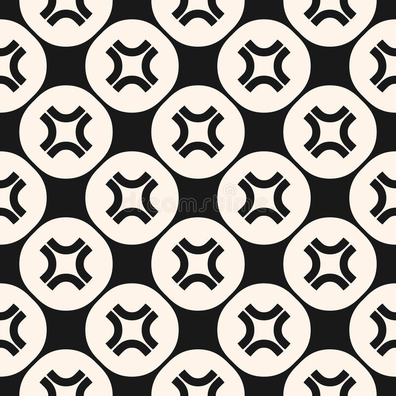 Seamless pattern with curved crosses in circular lattice. vector illustration
