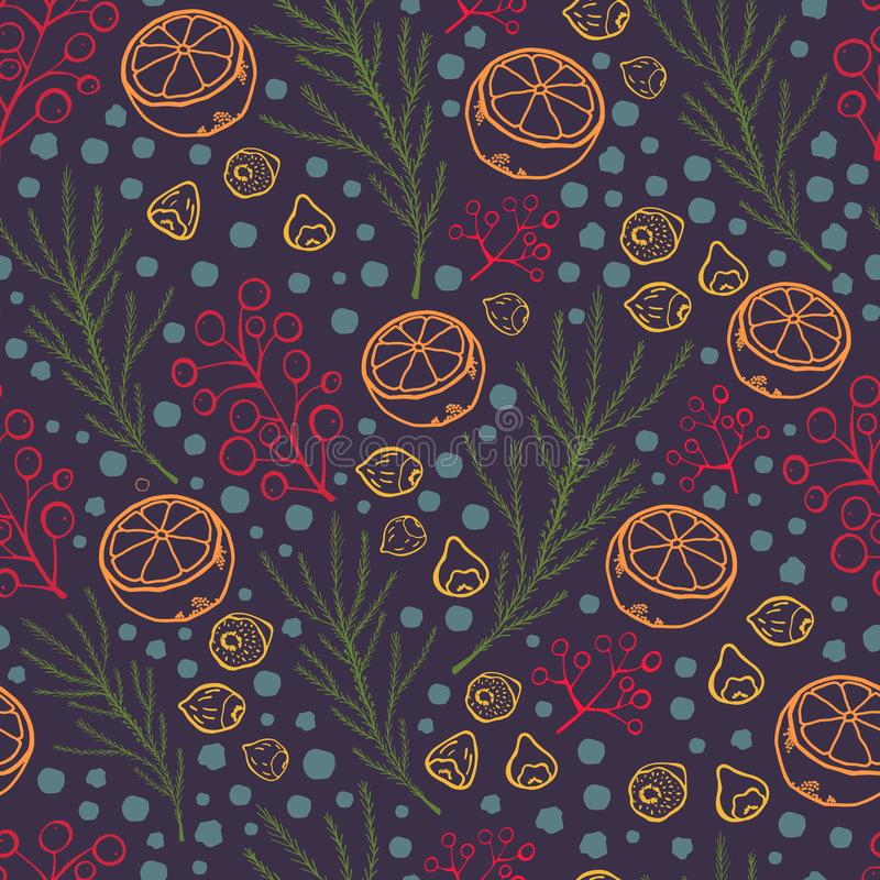 Seamless pattern with cut orange, nuts, berries, spruce branches and snowflakes. Hand drawn outline style. Christmas or new year. Vector illustration for vector illustration