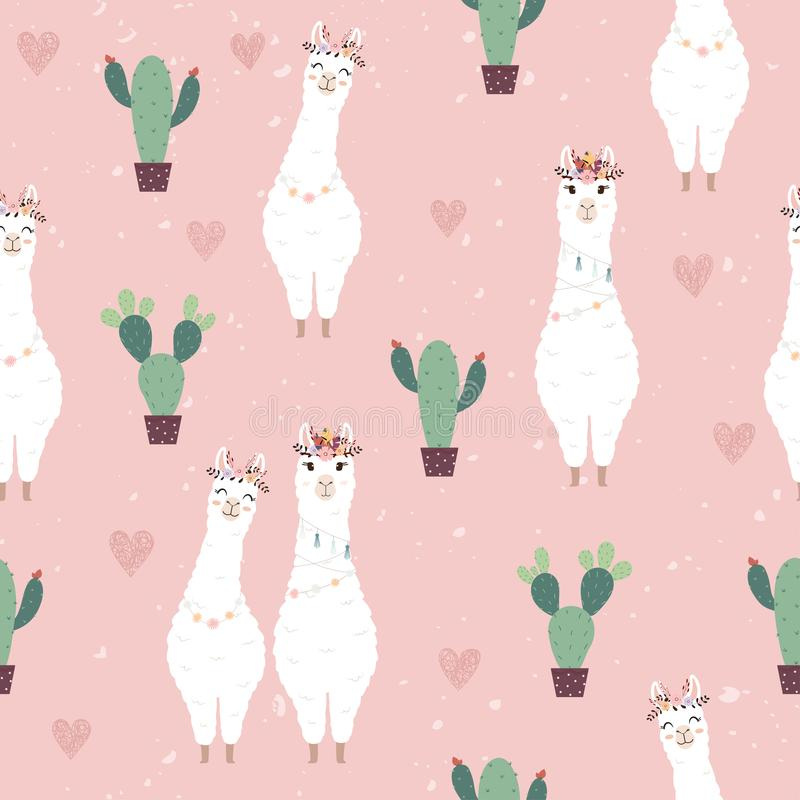 Seamless pattern with cute Alpacas and Cactus stock image