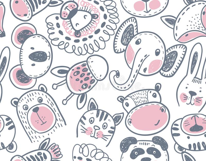 Seamless pattern with cute animal heads endless background royalty free illustration
