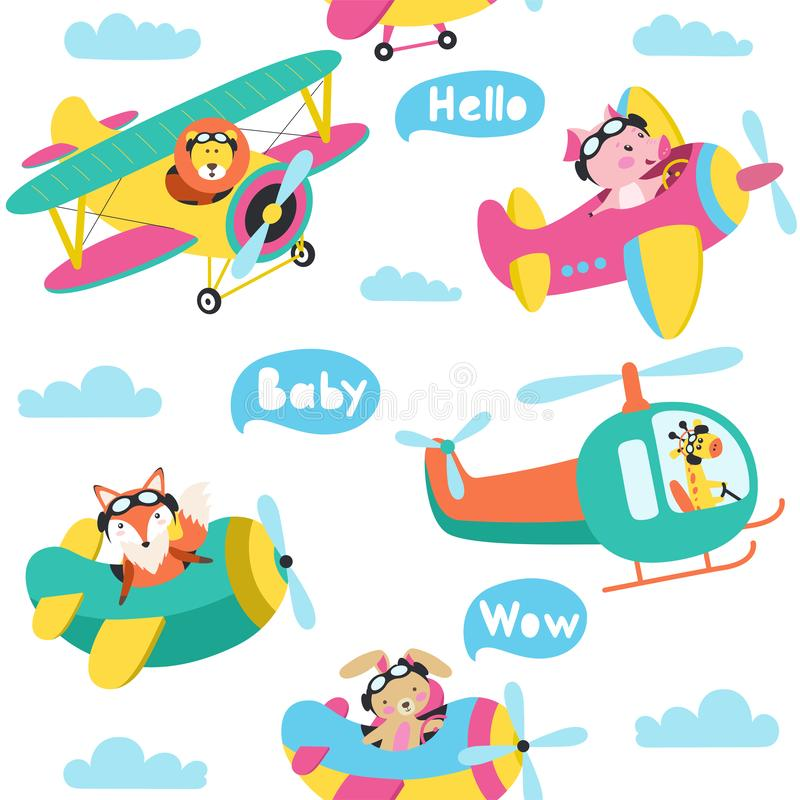 Seamless pattern with cute animals flying on a airplanes hand drawn vector vector illustration