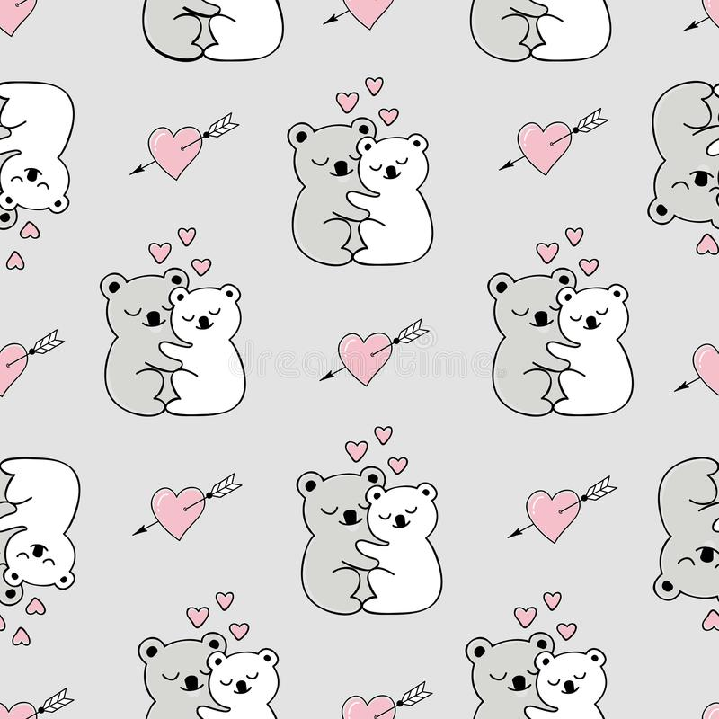 Seamless pattern with cute animals, hearts and love doodles. The pattern can be repeated without any visible seams vector illustration