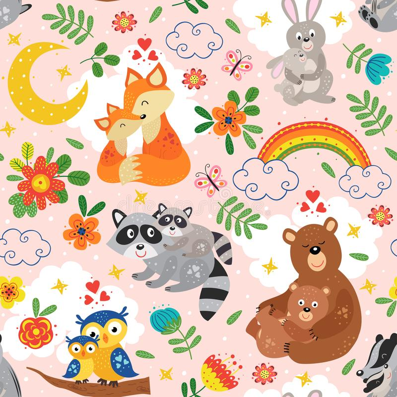 Seamless pattern with cute animals mother and baby on pink background vector illustration