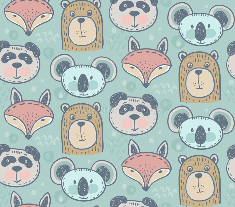 Seamless pattern with cute animals royalty free illustration