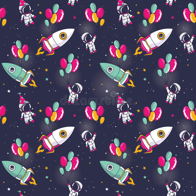 Seamless pattern with cute astronauts and rockets on balloons in space royalty free illustration