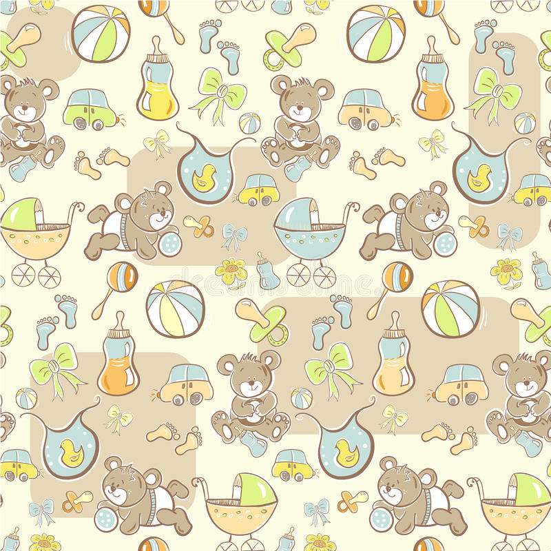 Download Seamless Pattern - Cute Baby Boy Items Stock Illustration - Illustration of greeting, beauty: 15718303