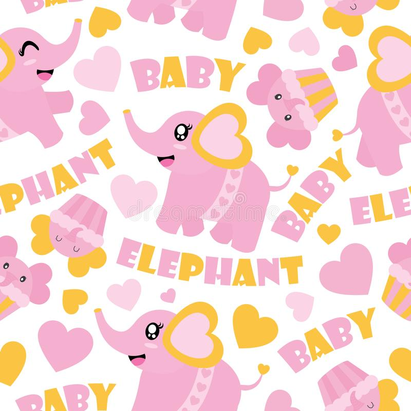 Download Seamless Pattern Of Cute Baby Elephant And Cupcakes Cartoon  Illustration For Baby Shower Wrapping Paper