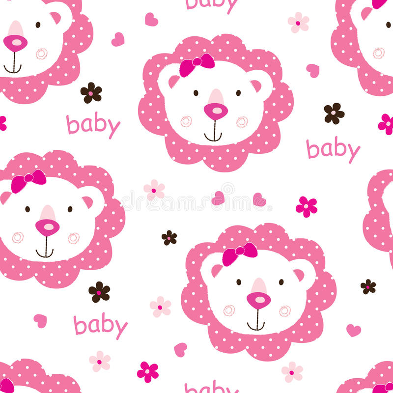 Seamless pattern with cute baby girl lions royalty free illustration