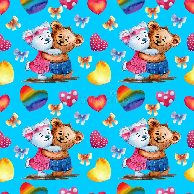Seamless pattern. Cute bears on the background of hearts. Watercolor illustration. Blue background. Happy Valentine`s day. Seamless pattern. Cute bears on the vector illustration