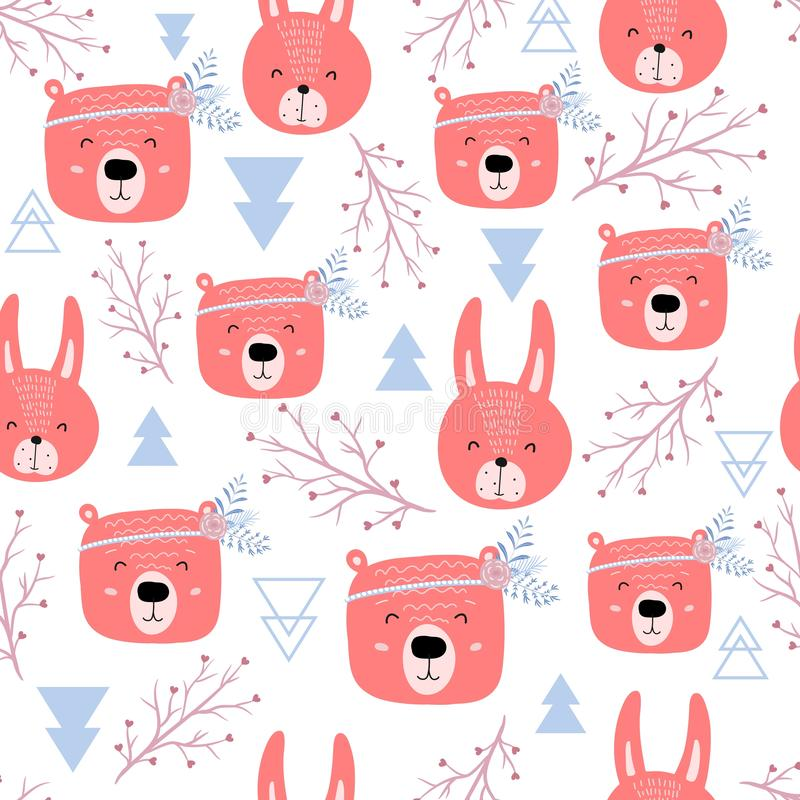 Seamless pattern with cute bears and rabbits - boho. Scandinavian style texture for fabric, wrapping, textile, apparel stock illustration