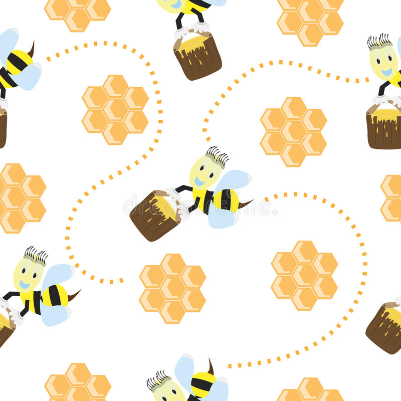 Seamless pattern with cute bees and honeycomb vector illustration