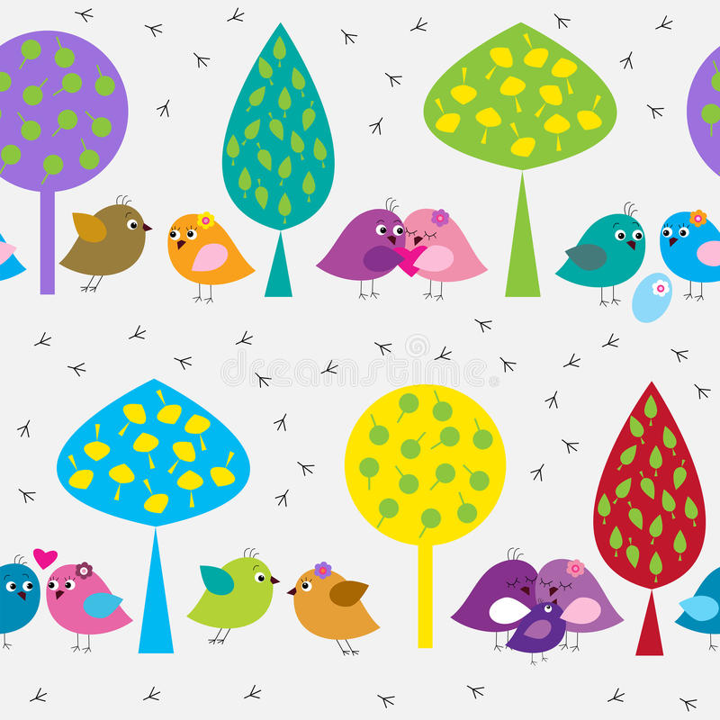 Seamless pattern with cute birds in the forest royalty free illustration
