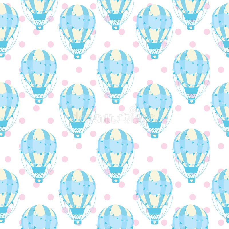 Download Seamless Pattern Of Cute Blue Hot Air Balloon On Polka Dot Background Vector Cartoon For
