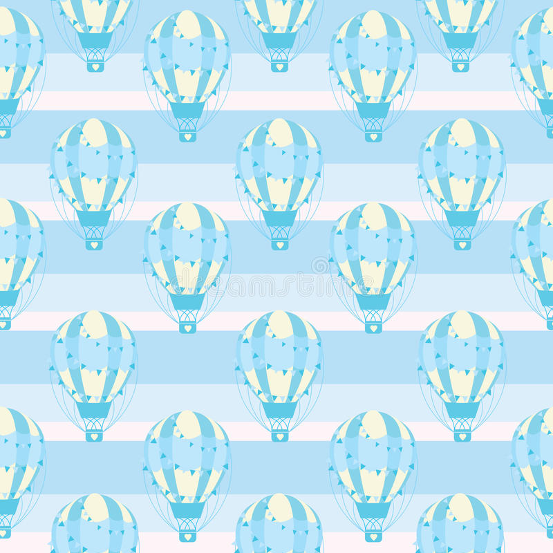 Download Seamless Pattern With Cute Blue Hot Air Balloon On Striped Background Vector Cartoon