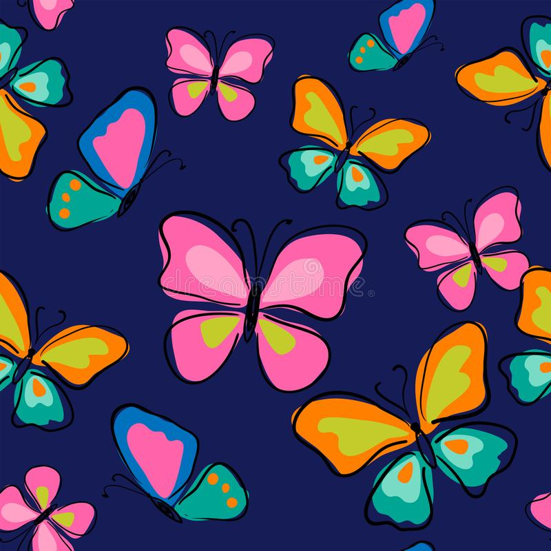 Seamless pattern with cute butterflies on a blue background stock illustration